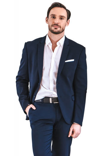 This men's pant suit is a classic choice for any formal occasion. It is tailor made in a fine wool blend and cut to a slim fit, featuring slash pockets and a single breasted button closure.