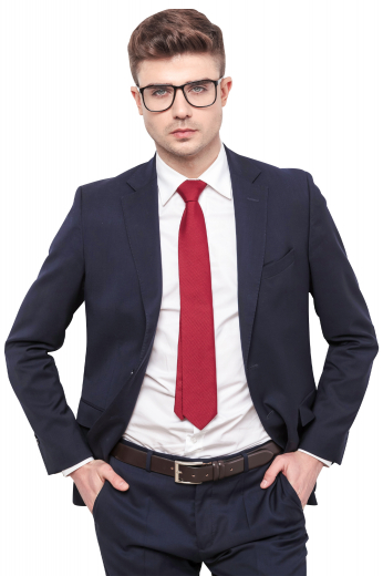 This men's pant suit is tailor made to a slim fit, featuring a single breasted button closure and notch lapels. It is perfect for all formal occasions.