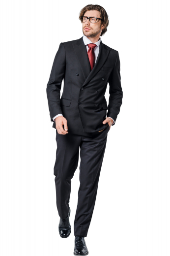 This men's pant suit is tailor made in a wool blend, cut to a slim fit. It is perfect for all formal occasions, featuring a double breasted closure, peak lapels, and slash pockets.