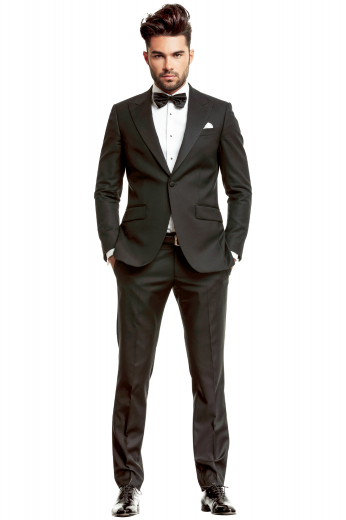 This men's pant suit is tailor made in a fine wool blend featuring a single breasted closure, peak lapels, and made to a slim fit. It is perfect for all formal occasions
