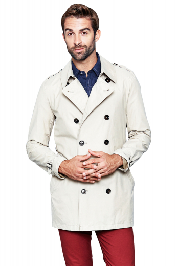 This tailor made men's coat is custom made in a fine wool blend, featuring a double breasted eight button closure and handstitched lapels.