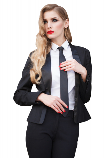 This women's suit set is tailor made in a wool blend to a perfect fit in a single breasted design, featuring a button closure and a shawl collar.