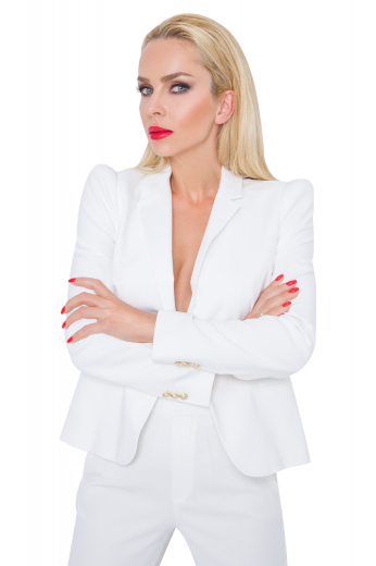This women's suit set is tailor made in a wool blend to a perfect fit. The jacket features a single breasted jacket and notch lapels.