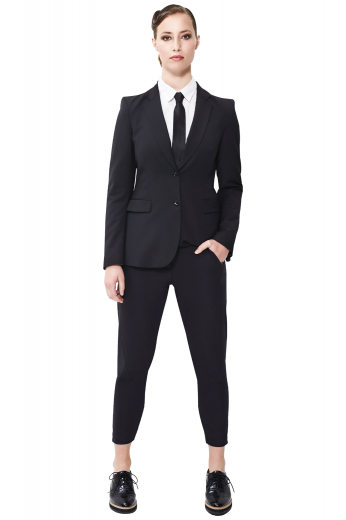 This women's matching pant suit is perfect for formal use. The jackets are custom tailored in a single breasted design, made in a fine wool blend.