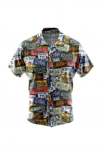A fun USA number plate men's custom tailored short sleeve dress shirt intricately designed with cool number plate inspired print. This men's made to measure dress shirt is great for a casual day out on the town and also for summer vacation. This handstitched dress shirt will make a great addition to your summer collection.