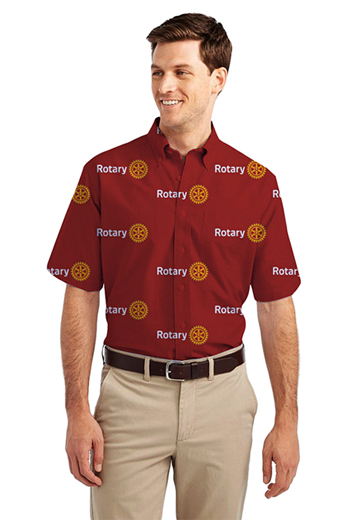Red Rotary logo Print Short Sleeve Shirt featuring button-down collar