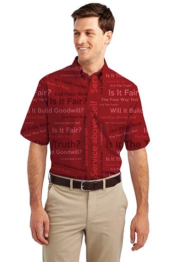 Red Rotary Four Way Test logo Print Short Sleeve Shirt featuring button-down Collar for Semi Formal look