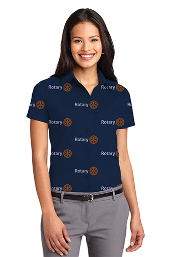 Dark Blue Rotary logo Print Short Sleeve Shirt featuring pointed formal collar style and dart front