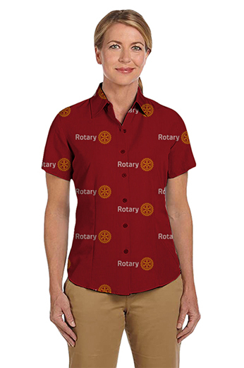 Red Rotary logo print short sleeves shirt featuring Hawaiian collar and tucked out style for casual wear