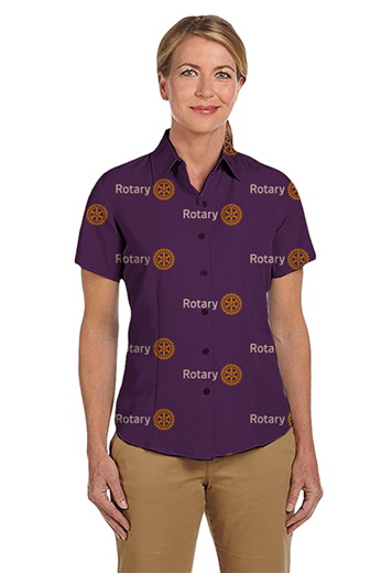 Light Plum Rotary logo print short sleeves shirt featuring Hawaiian collar and tucked out style for casual wear