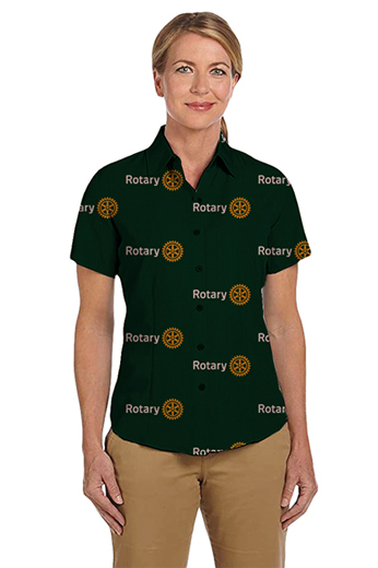 Dark Forest Green Rotary logo print short sleeves shirt featuring Hawaiian collar and tucked out style for casual wear